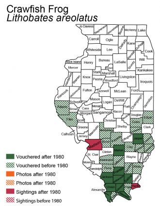 map of Crawfish Frog Illinois distribution