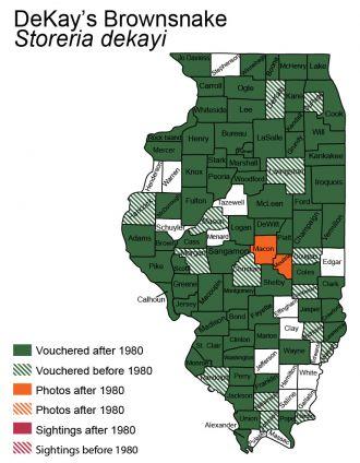Illinois distribution of dekay's brownsnake