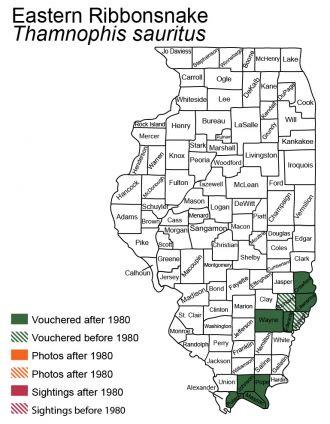 eastern ribbonsnake distribution in Illinois