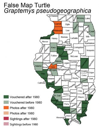 Illinois map of false map turtle distribution