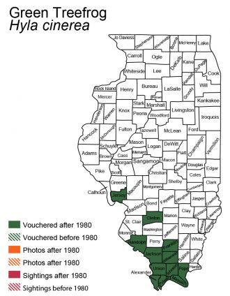 map of Green Treefrog distribution in Illinois