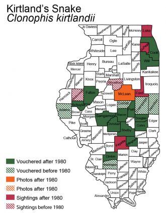Illinois distribution of Kirtlands Snake