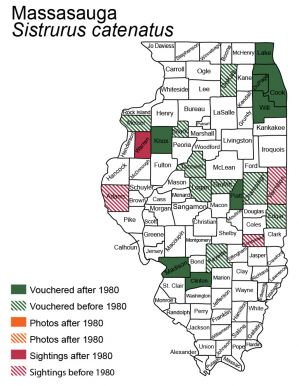 Illinois map of massasauga distribution