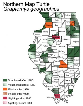 Illinois map of Northern Map Turtle distribution