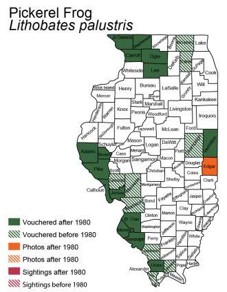Illinois distribution map of Pickerel Frog