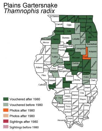 Illinois distribution of plains gartersnake