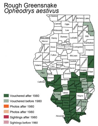 Illinois distribution map for rough greensnake