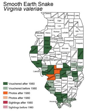 Illinois map of distribution of smooth earthsnake