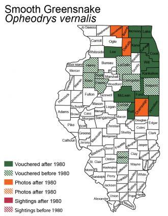 Illinois distribution of smooth greensnake