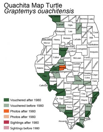 Illinois distribution map of Southern Map Turtle