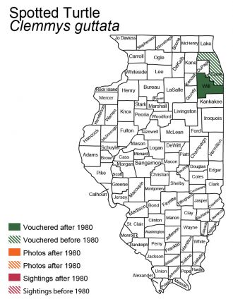 Illinois map of spotted turtle distribution