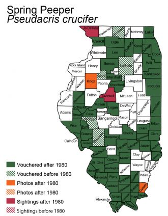 map of spring peeper distribution in Illinois