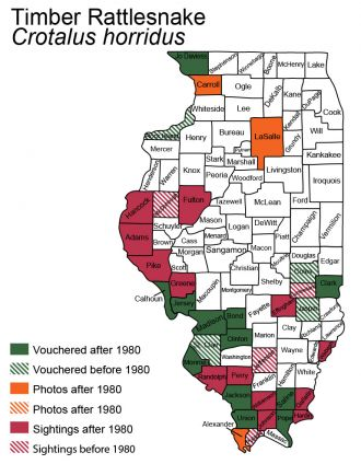 Illinois distribution map for timber rattlesnake