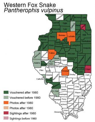 Illinois distribution of eastern foxsnake