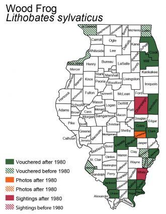 Illinois map of wood frog distribution
